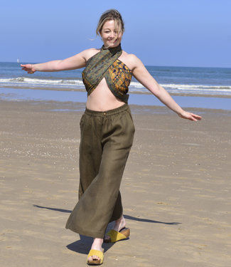HOWS Palazzo pants linen olive green