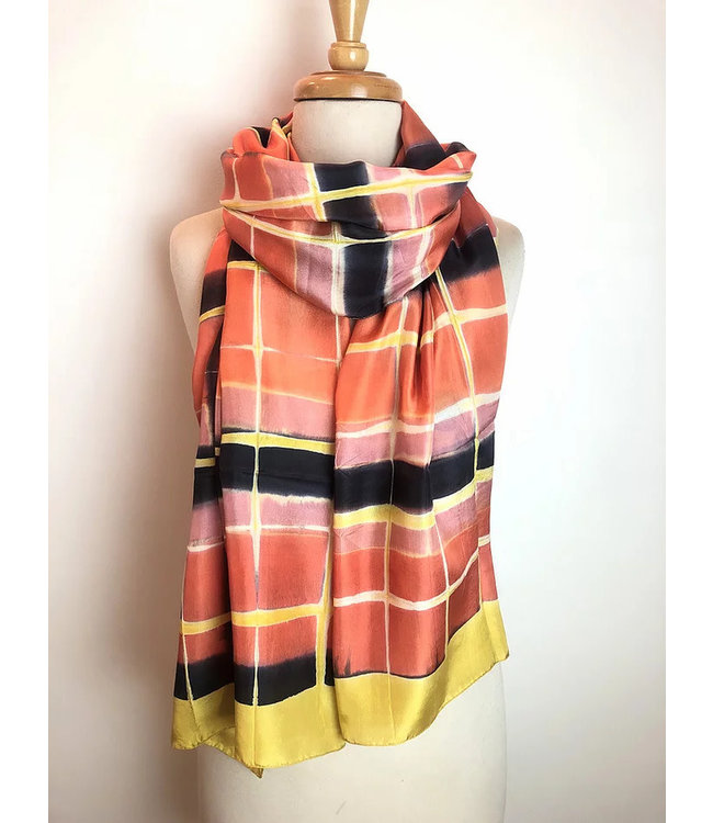 HOWS Zijden sjaal zijde oranje-geel