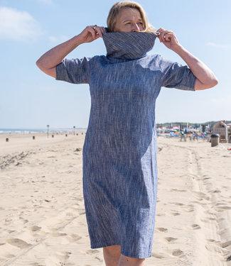 Cotton Rack Jurk katoen blauw met kaphals