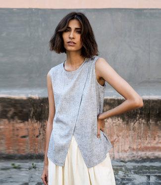 HOWS Top Eri silk, white with indigo