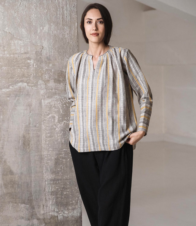 Crow Blouse striped long cuff