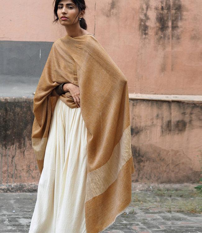 HOWS Pashmina omslagdoek camel met goud