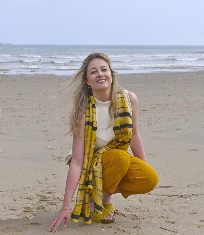 HOWS Silk scarf silk yellow-black
