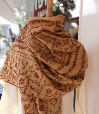 Via India Stole camel pashmina-blend hand embroidered