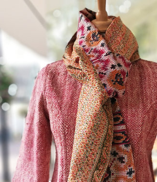 HOWS Scarf upcycled silk Pink Red embroidered