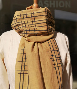 Amba Sjaal katoen khaki met zwarte streep