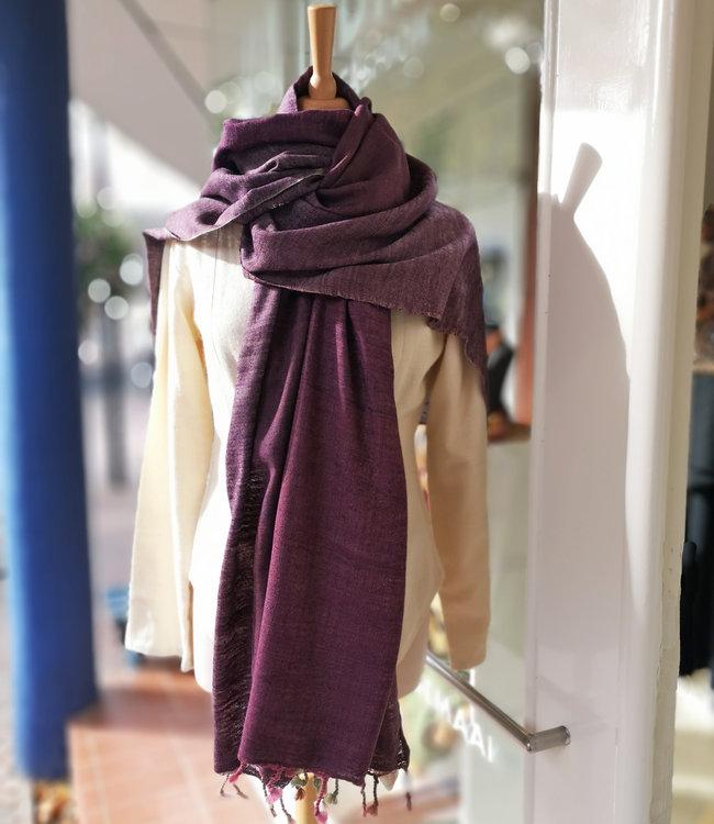 Avani Sjaal wol met zijde paars
