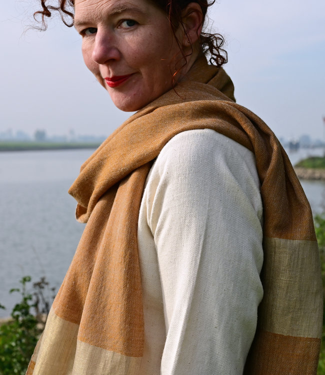 HOWS Pashmina scarf camel with gold