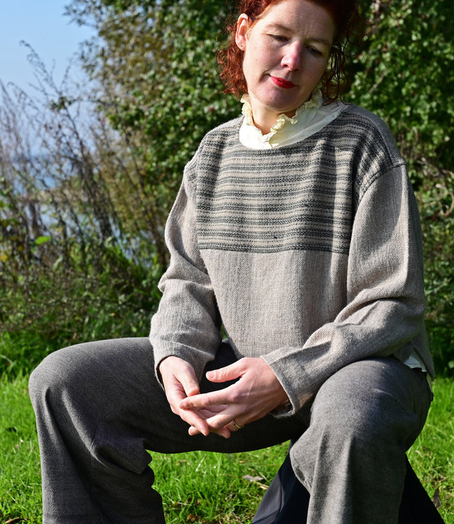 Woolen sweater brown striped