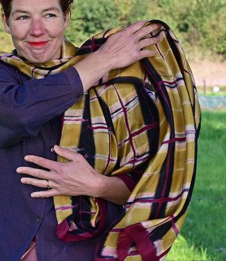 HOWS Zijden sjaal paars-oker