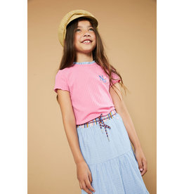 Nono T-shirt met ruffle nek roze