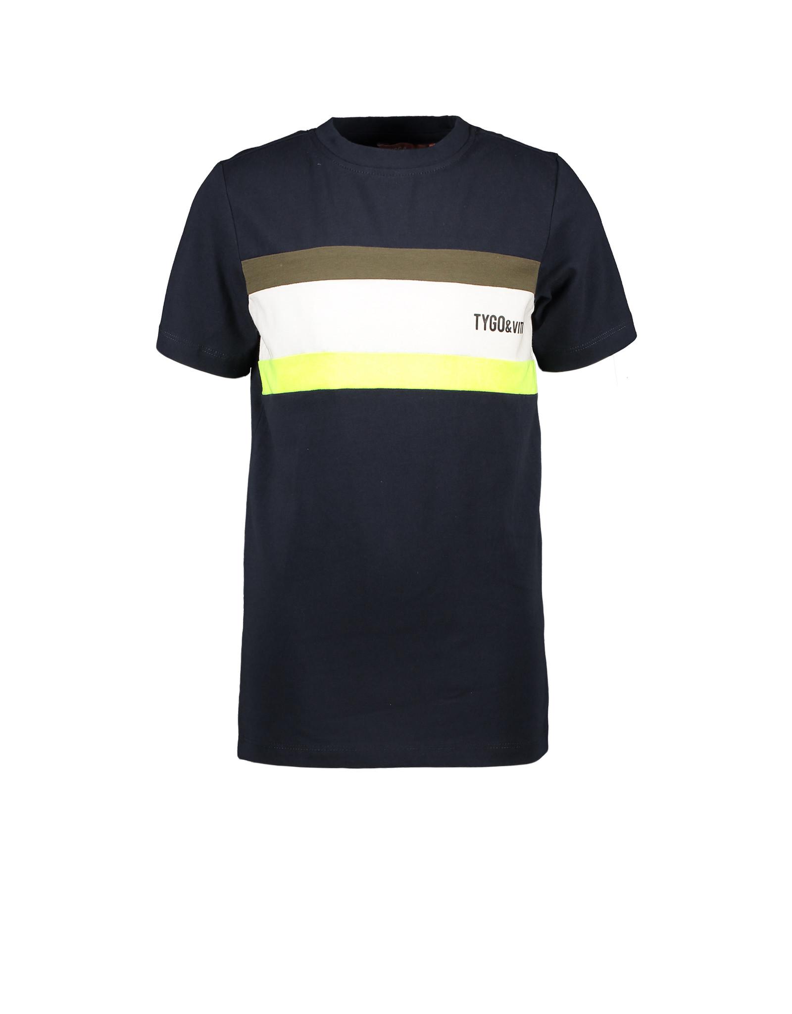 Tygo & Vito T-shirt met colourblock en logo