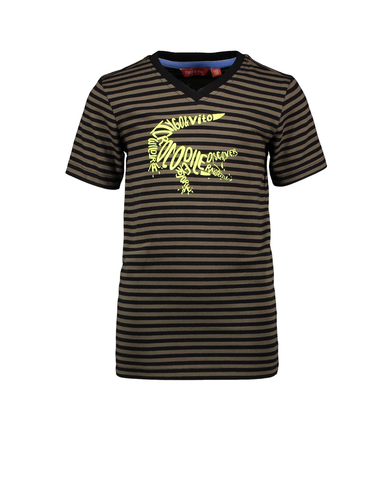 Tygo & Vito T-shirt gestreept krokodil