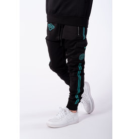 Black Bananas Jr. Unity Trackpants zwart met aqua