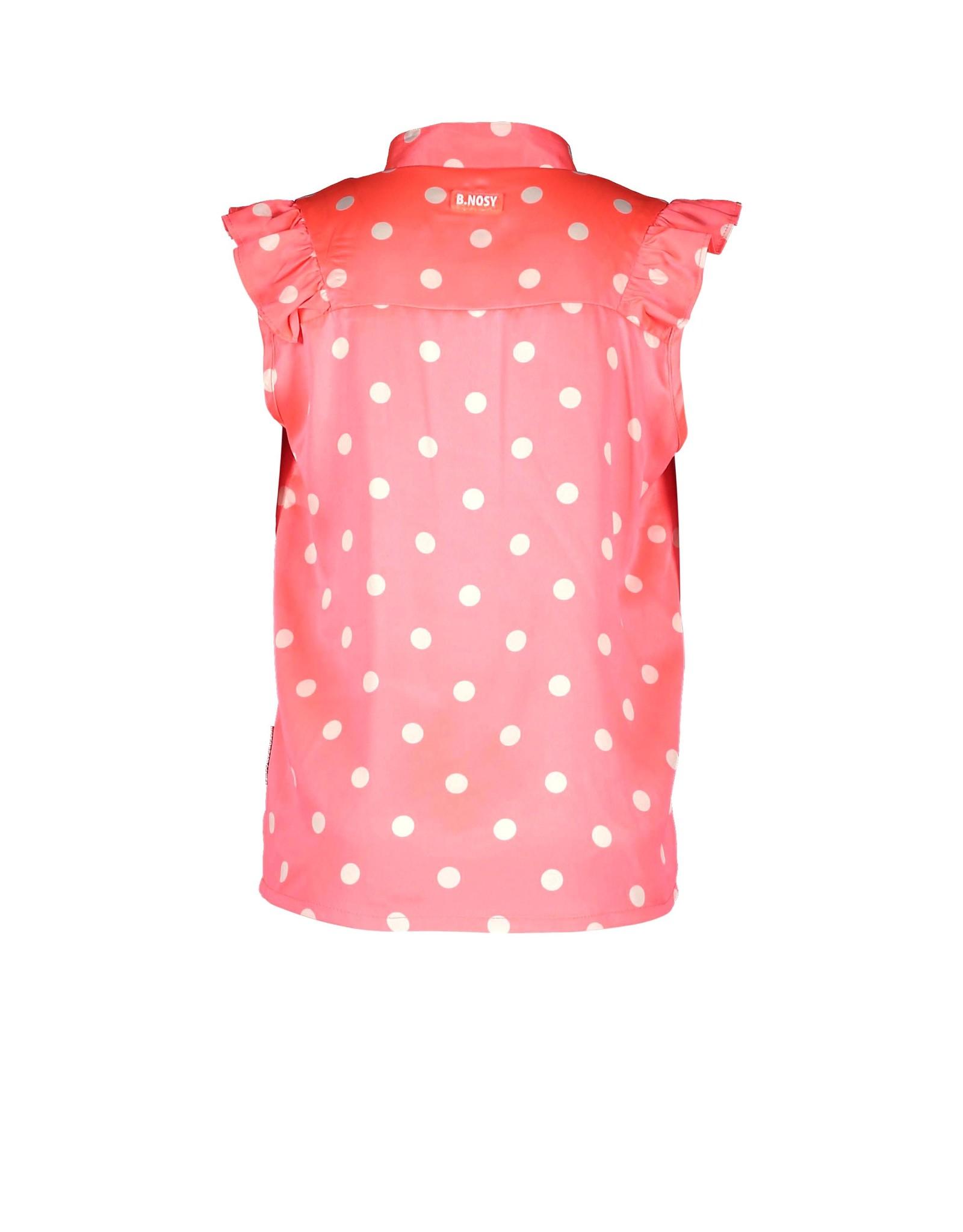 B-nosy Mouwloze blouse met stippen roze