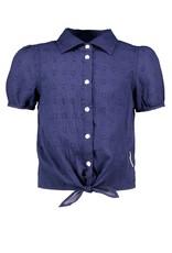 B-nosy Donkerblauwe broderie blouse met knot