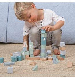 Little Dutch houten blokken in ton blauw