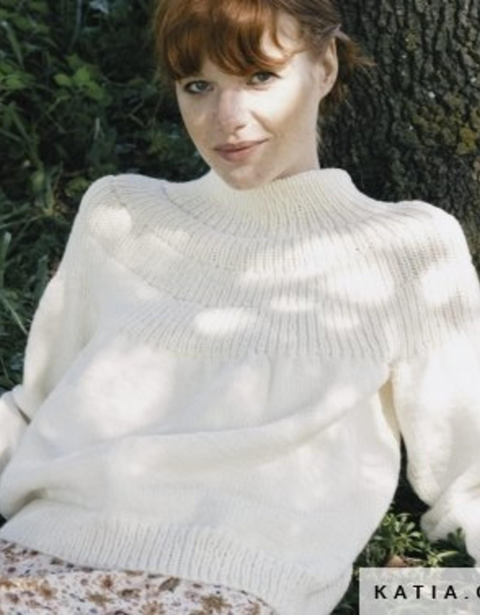 Katia Rondgebreide trui met kraag Perkins van Arles Merino