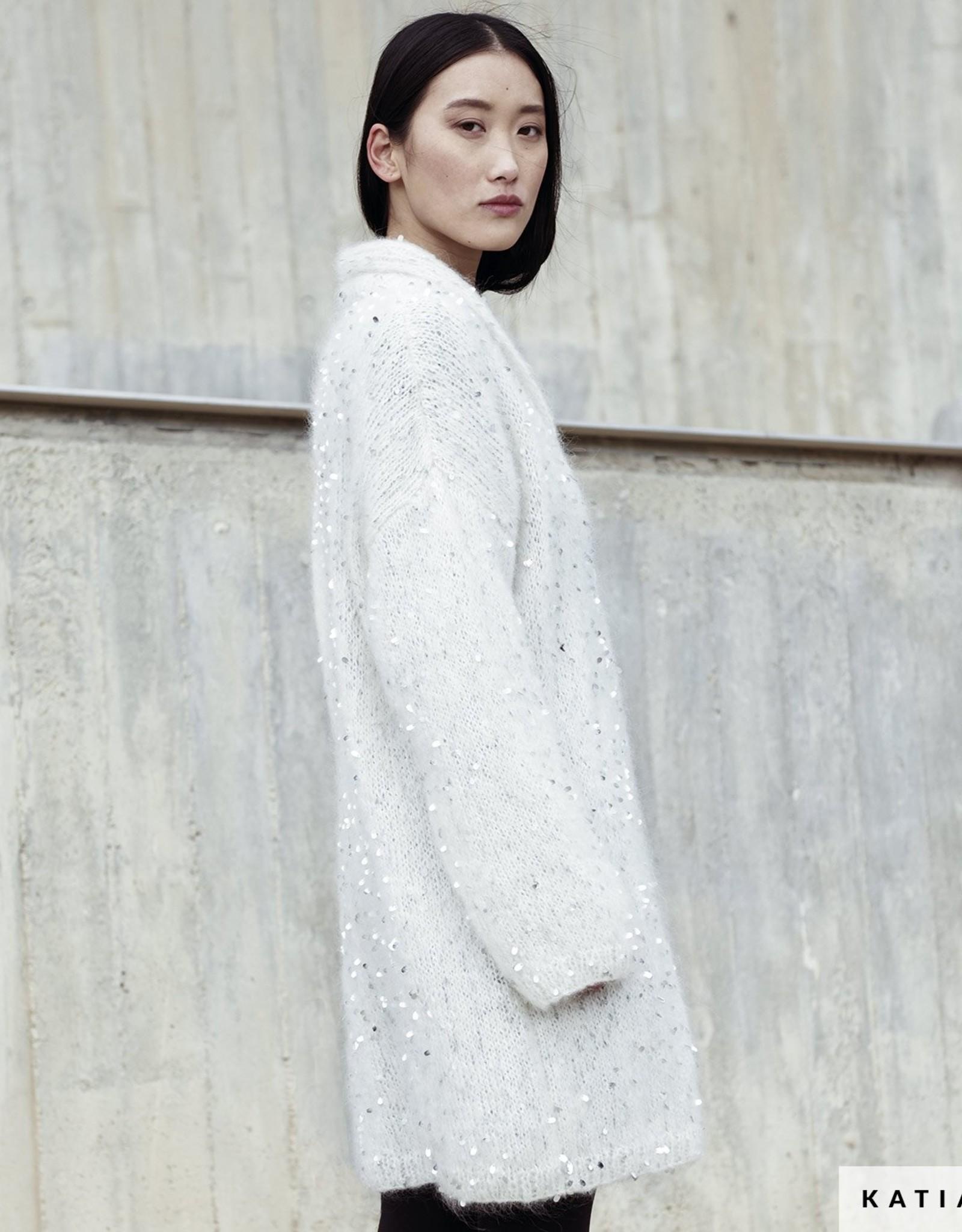 Katia Zeer licht lang vest met smokinghals van Casiopea