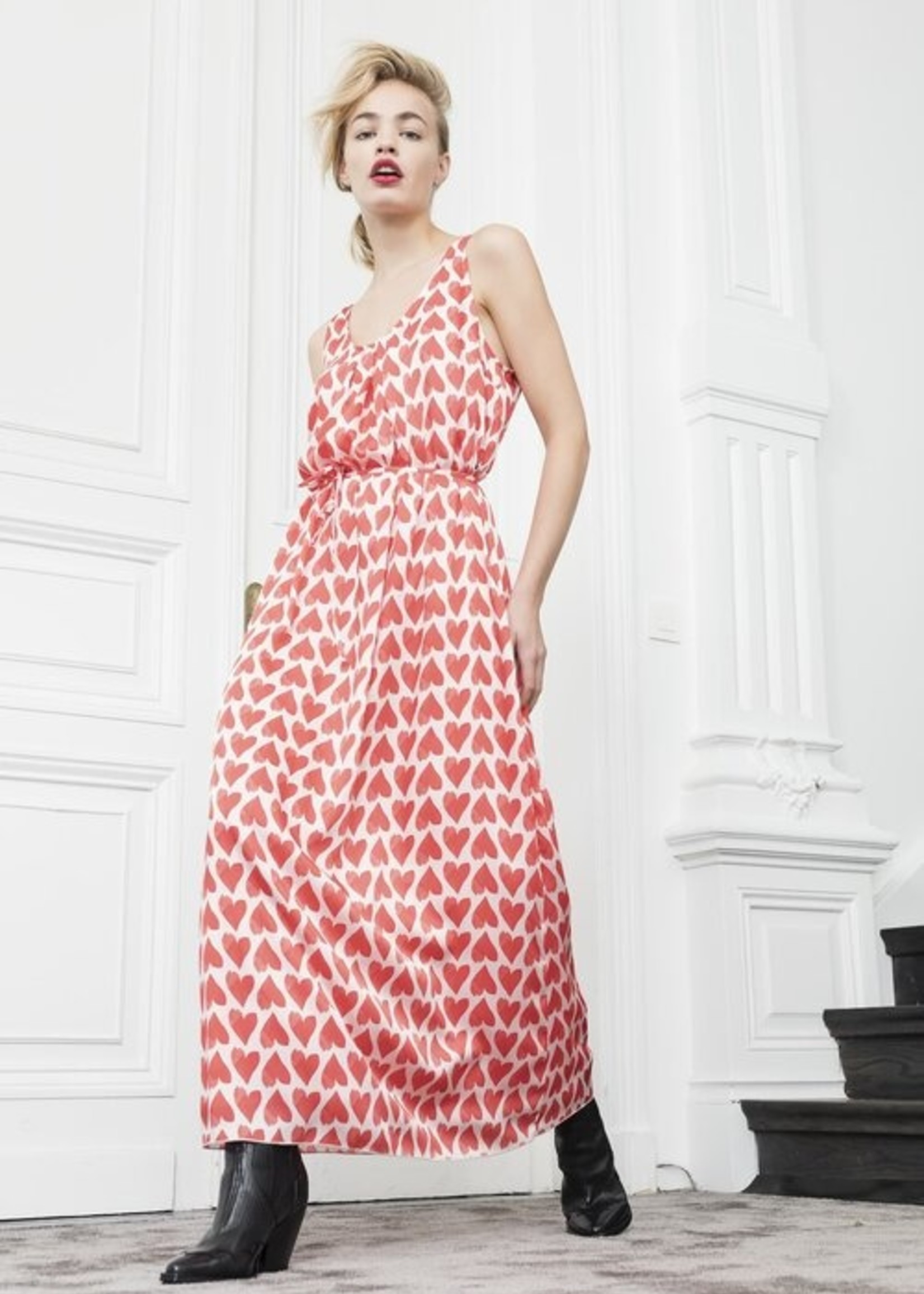 Dame Blanche Dress andorra hearts coral