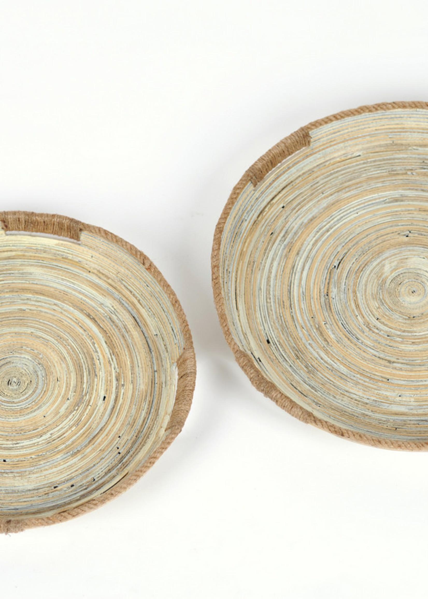 RASTELI Decoschaal bamboo en jutte set van 2