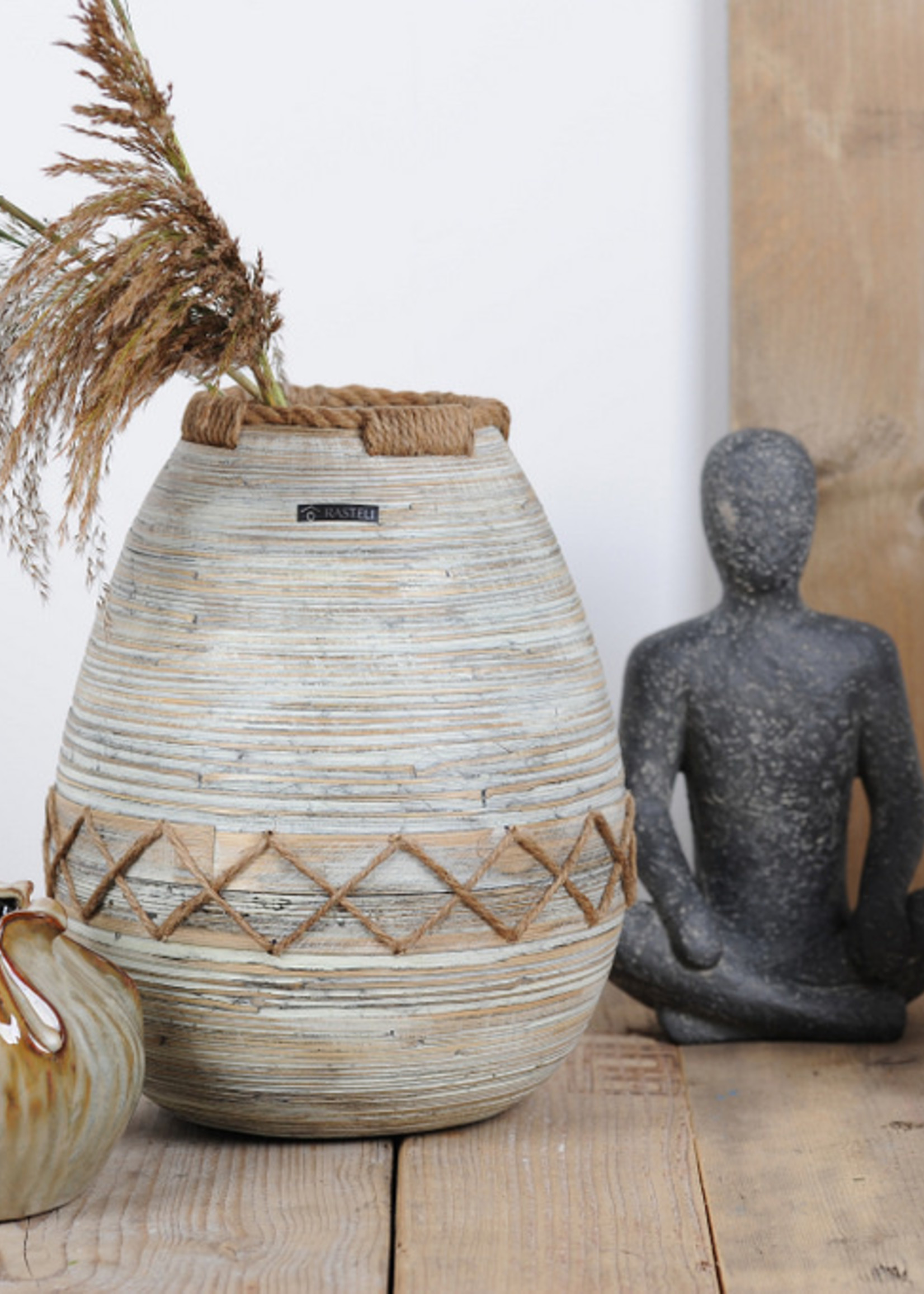 RASTELI Decovaas bamboo & jutte large