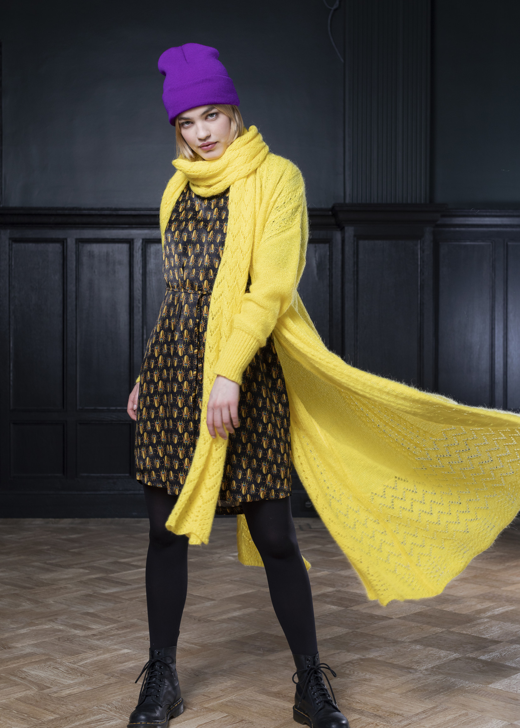 Dame Blanche Cardigan Sarah Titan yellow