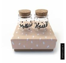 Haarlokje/melktandjes potjes in luxe cadeauverpakking