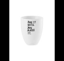 Mug without Ear Happy Ivory/White