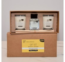 Gift set kaarsen en geurstokjes Limoenblad & Gember