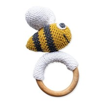 Crochet toy bee with wooden teether
