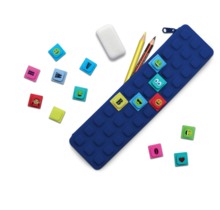 Waff Pencil Case With Cubes Navy Blue
