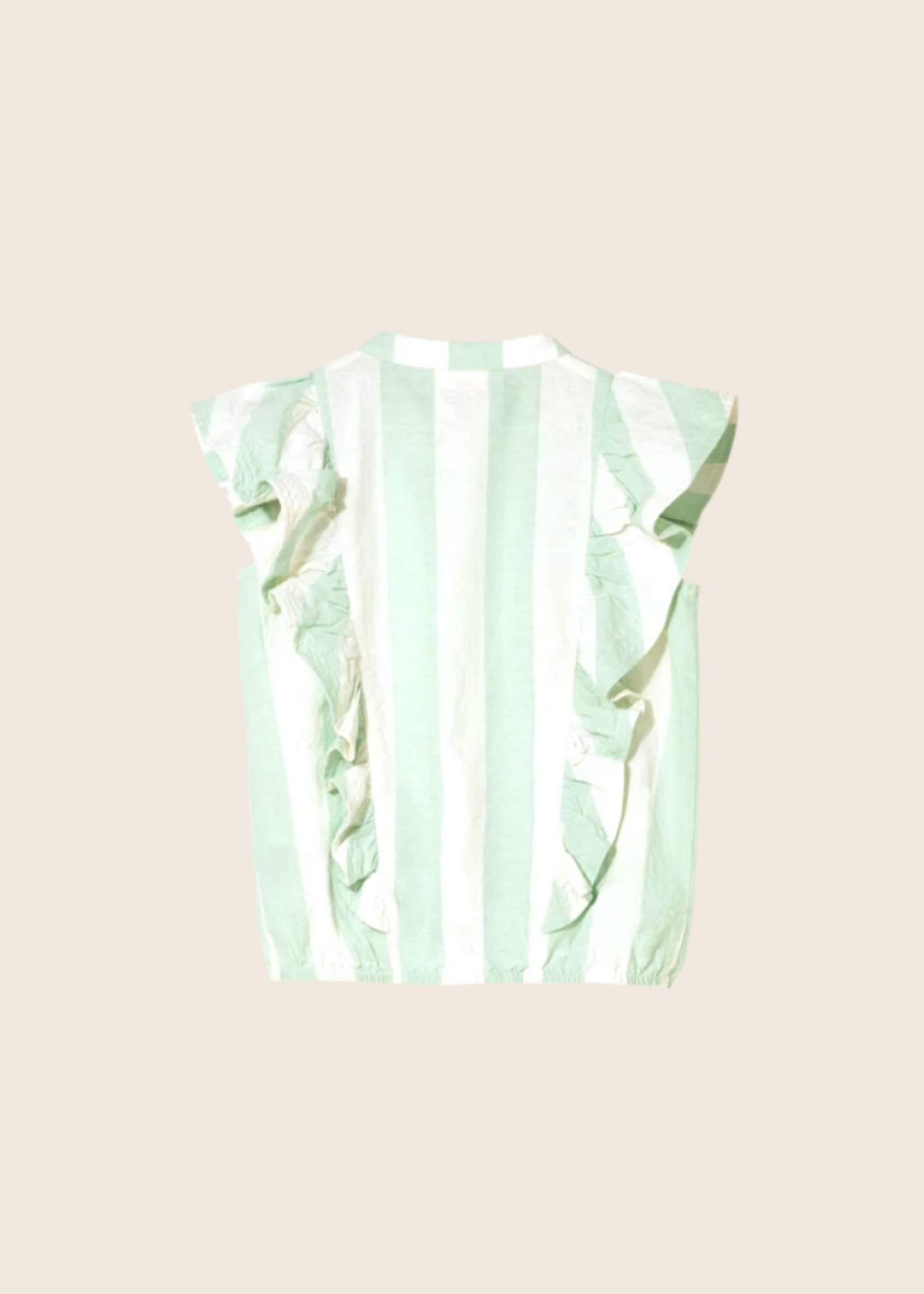 FINGER IN THE NOSE WINGER Milky Mint Stripes - Sleeveless Flounced Top