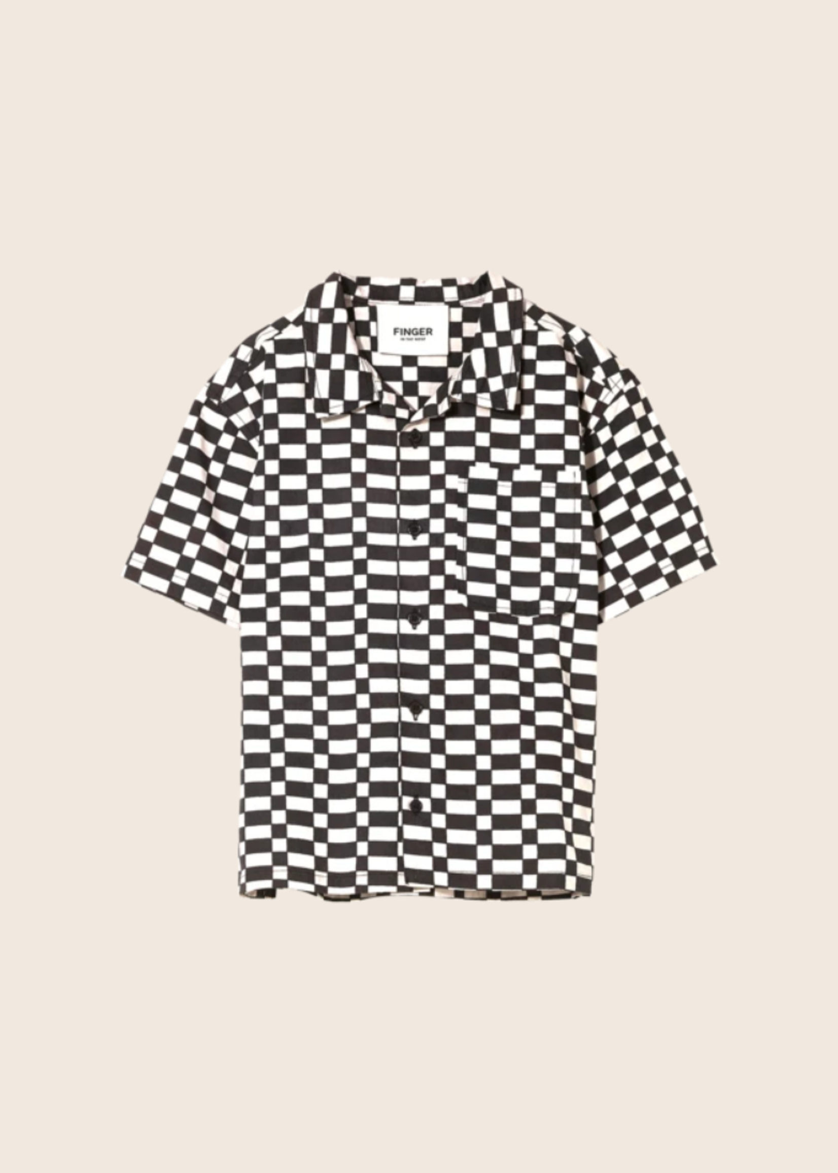 FINGER IN THE NOSE CHUCK Ash Black/Off White Checkers - Short Sleeve Shirt
