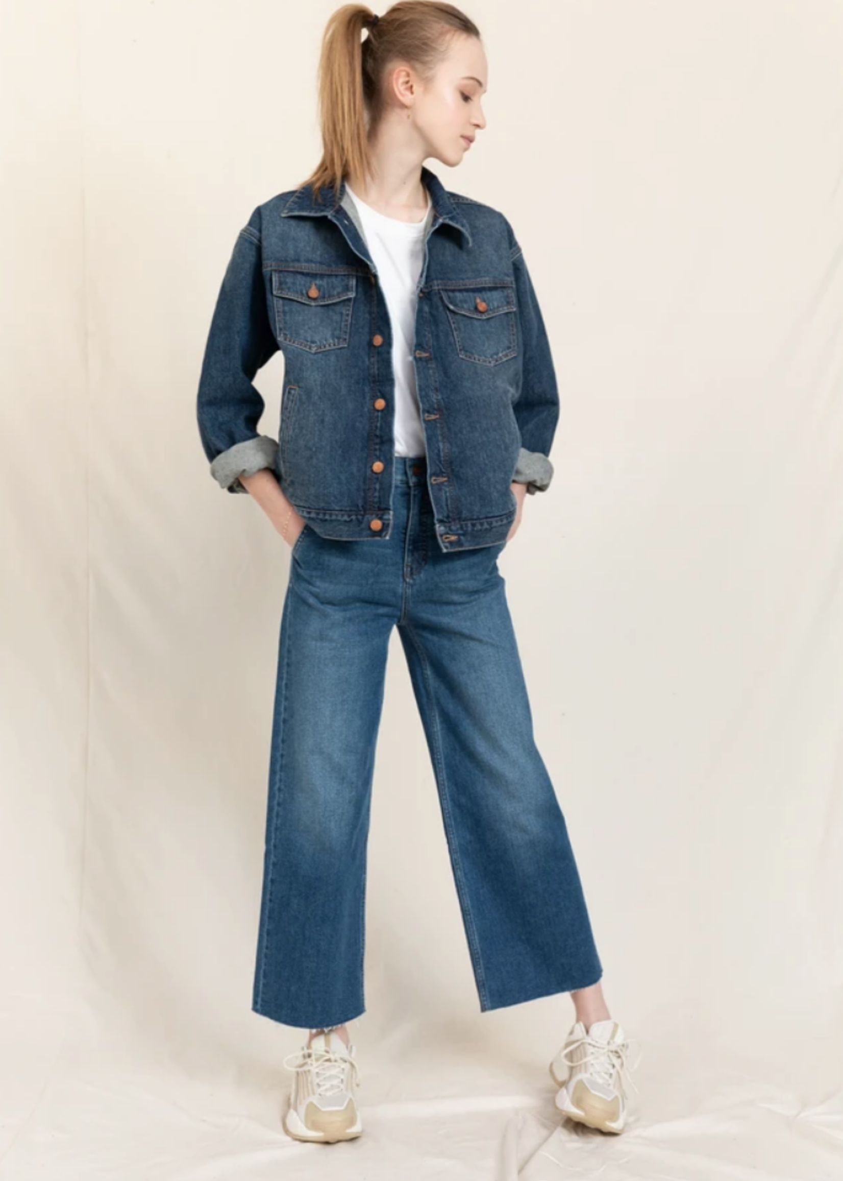 FINGER IN THE NOSE CHARLIE Medium Blue - Loose Fit Cropped Jeans