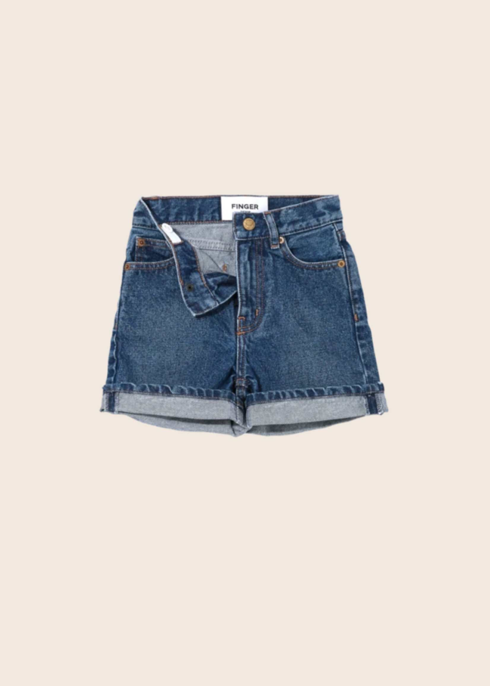 FINGER IN THE NOSE CHERRYL Medium Blue - High Waist 5 Pockets Shorts
