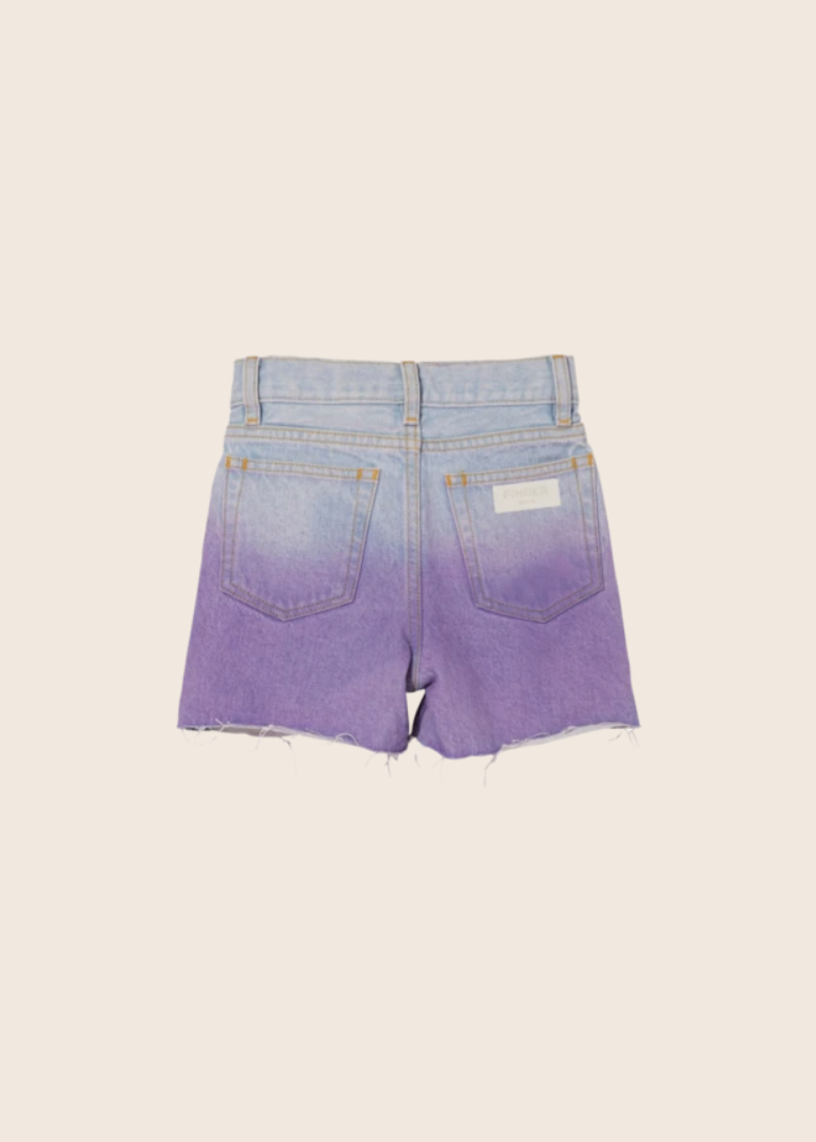 FINGER IN THE NOSE CHERRYL Bleached Blue/Parma Dip Dye - High Waist 5 Pockets Shorts