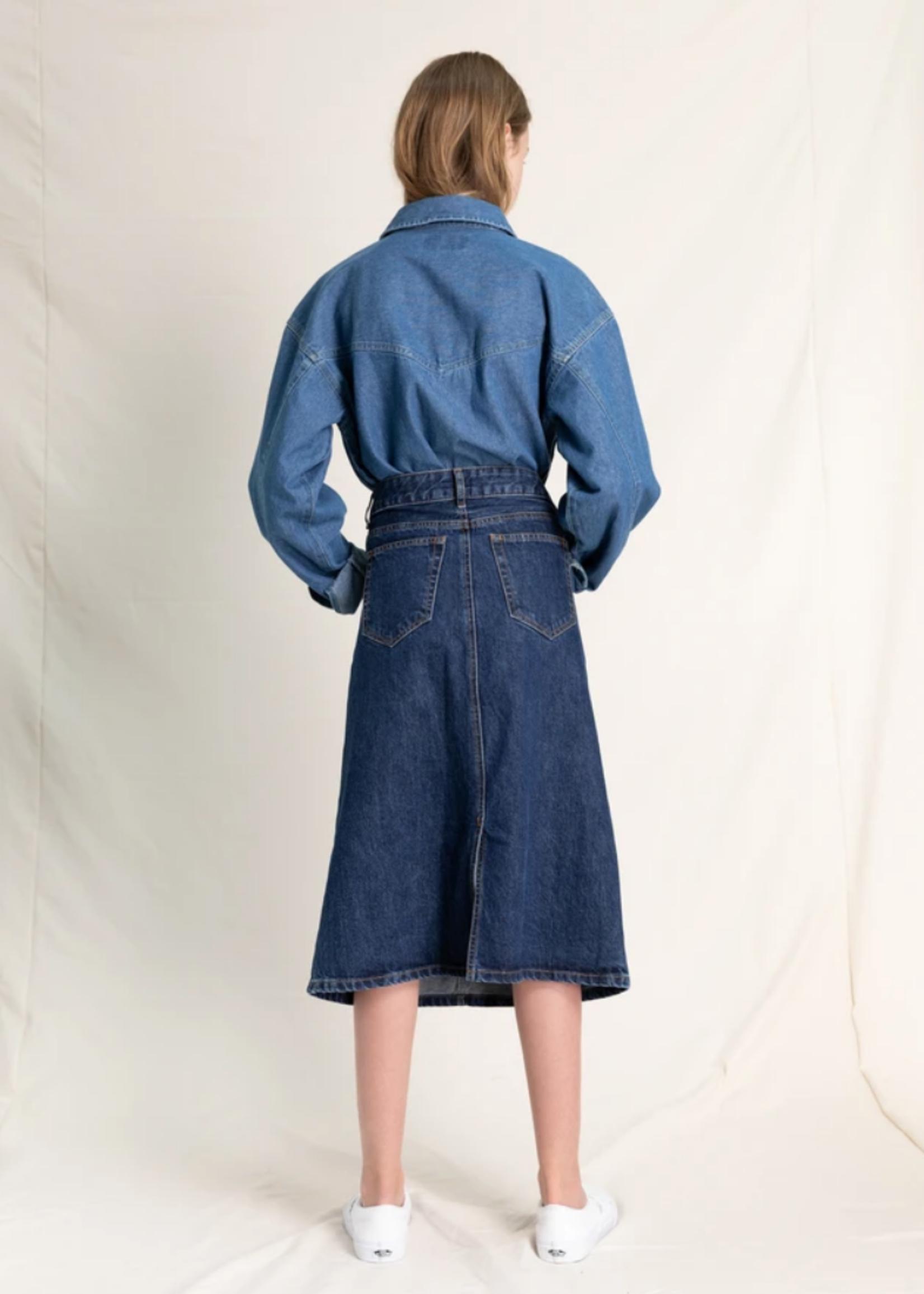 FINGER IN THE NOSE ODESSA Medium Blue - Denim Skirt