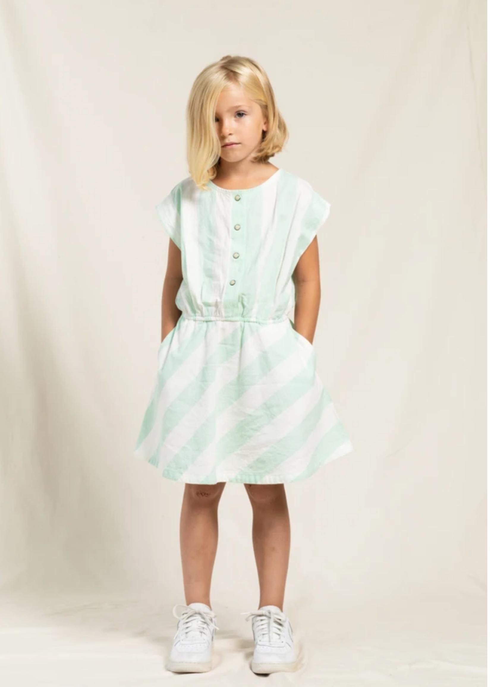 FINGER IN THE NOSE ALICE Milky Mint Stripes - Short Dress