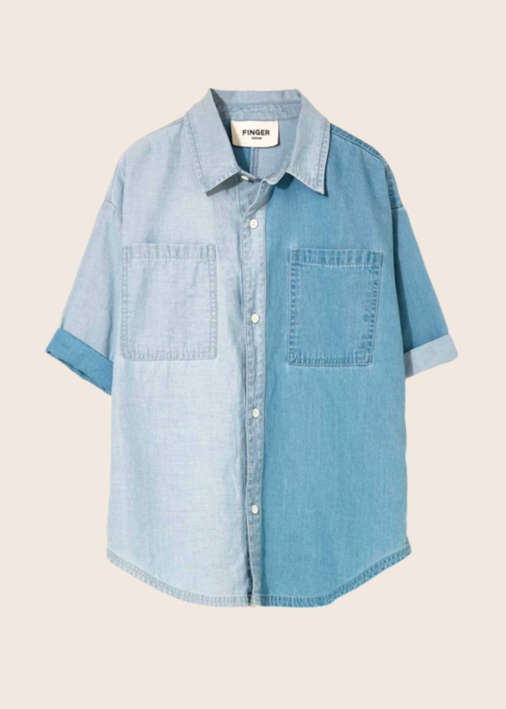 FINGER IN THE NOSE DANY Bleached Blue Bicolor - Oversized Shirt