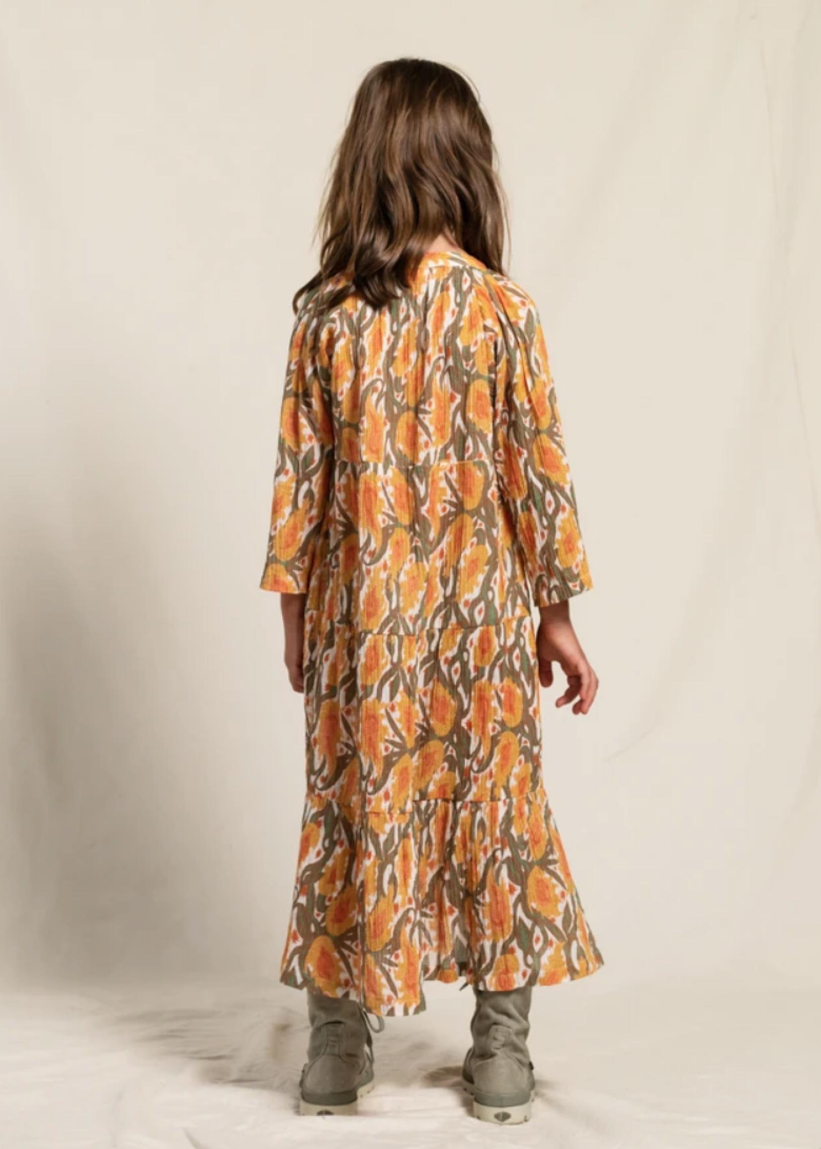 FINGER IN THE NOSE ROSABEACH Peach Iris - Long Beach Dress