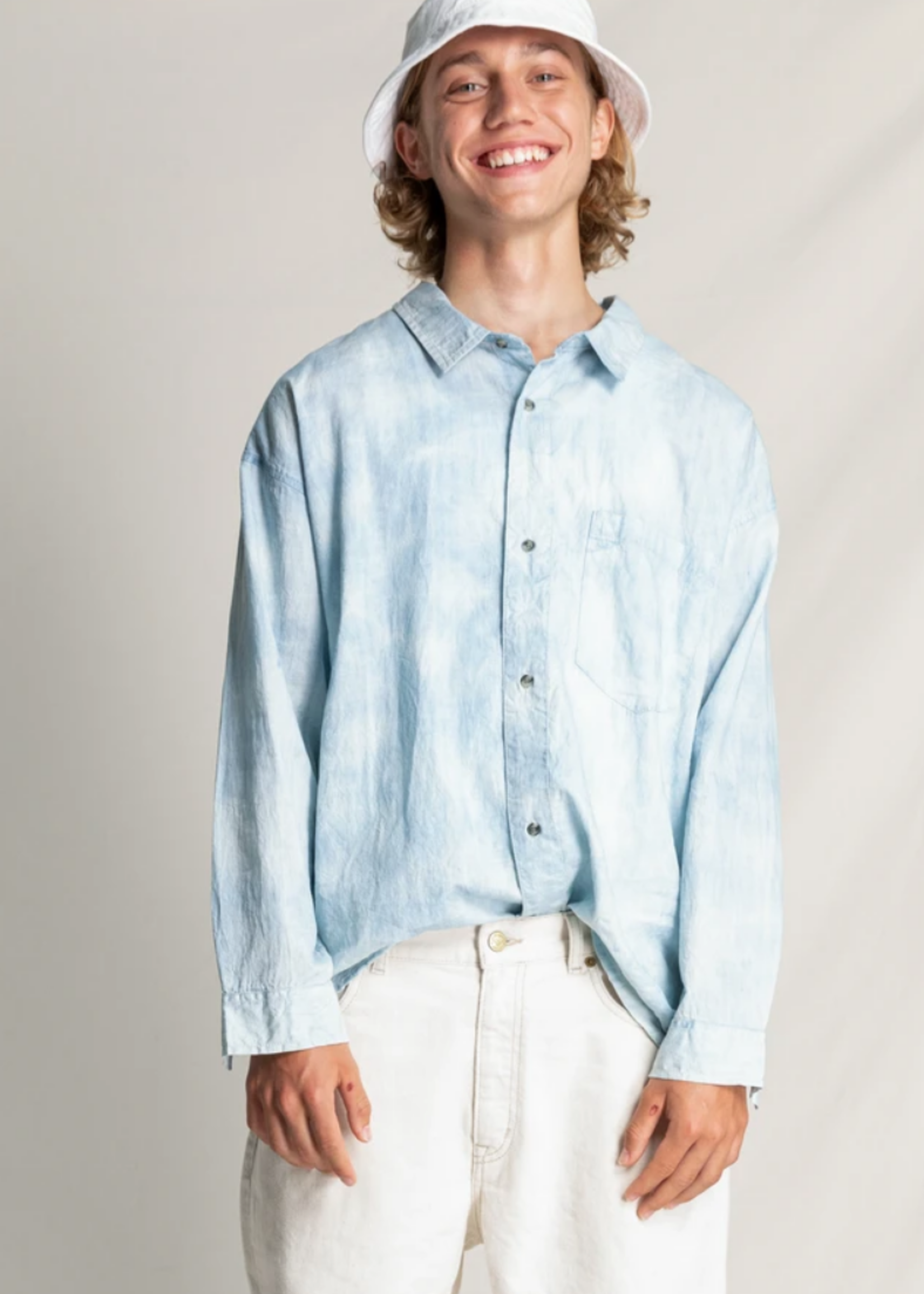 FINGER IN THE NOSE MYSTERY Bleached Blue Tie & Dye - Chest Pocket Shirt