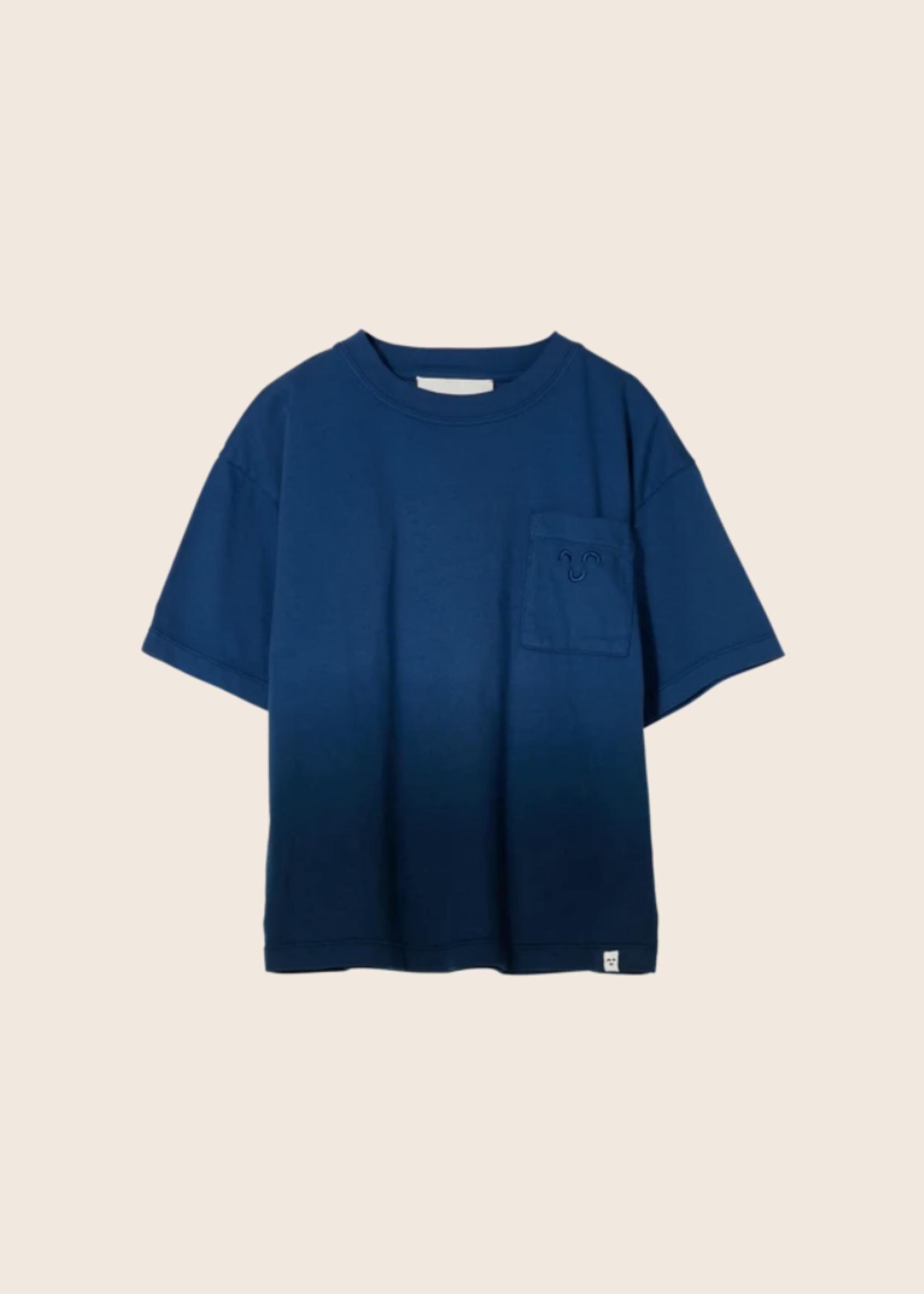 FINGER IN THE NOSE KING Work Blue Dip Dye - Short Sleeves T Shirt Boy / Knitted