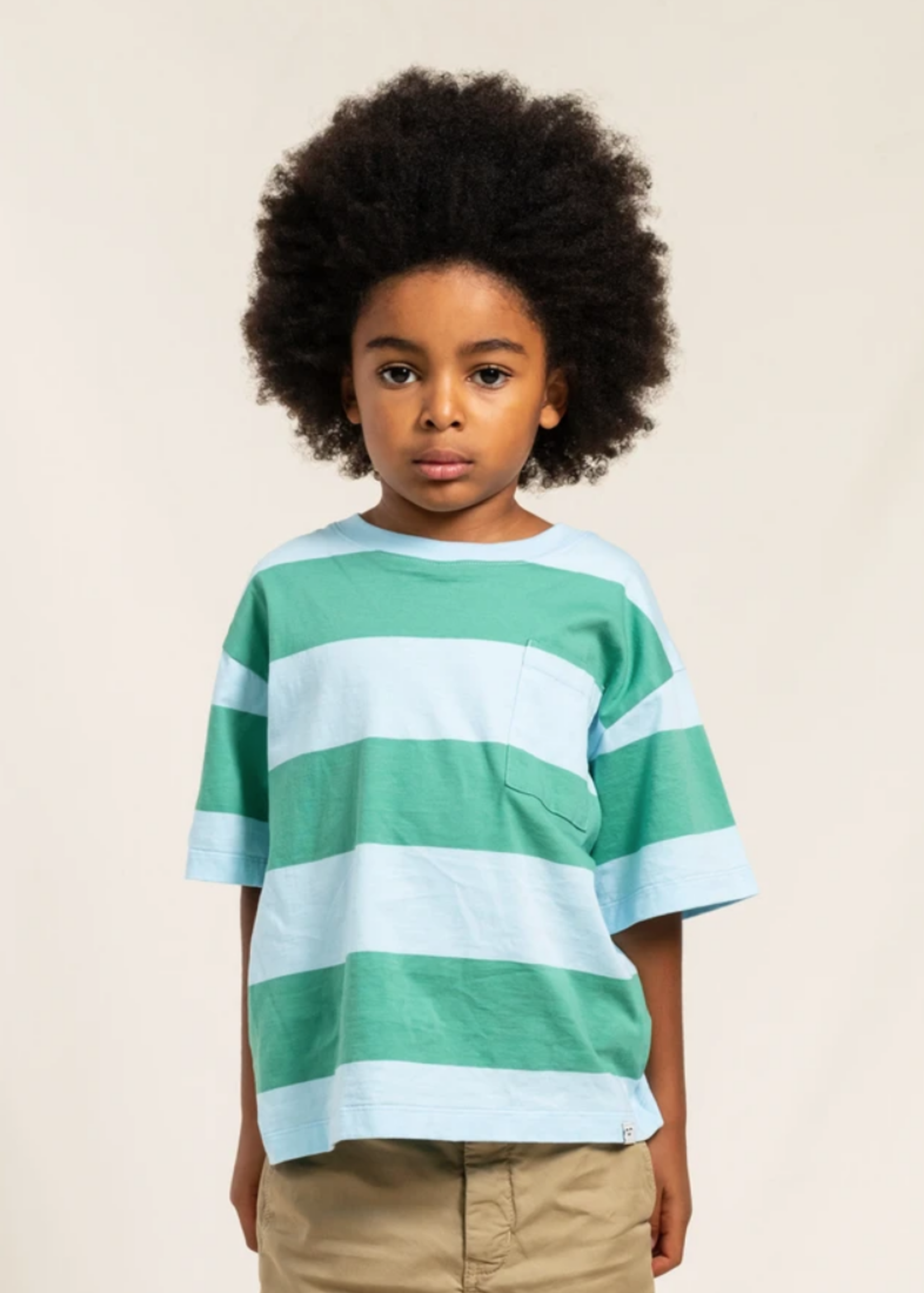 FINGER IN THE NOSE KING Milky Mint/Sky Blue Stripes - Short Sleeves T Shirt Boy / Knitted