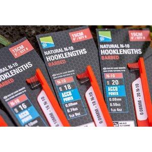 "Preston Innovations Natural N-10 hooklenghts barbed 6"""