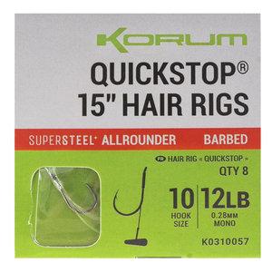 """Korum Supersteel big fish quickstops 15"""" hair rigs barbed"""