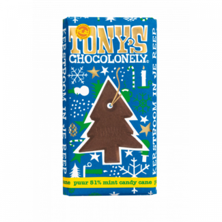 Tony's Chocolonely Tony's Chocolonely - kerstreep puur 51% Mint Candy Cane