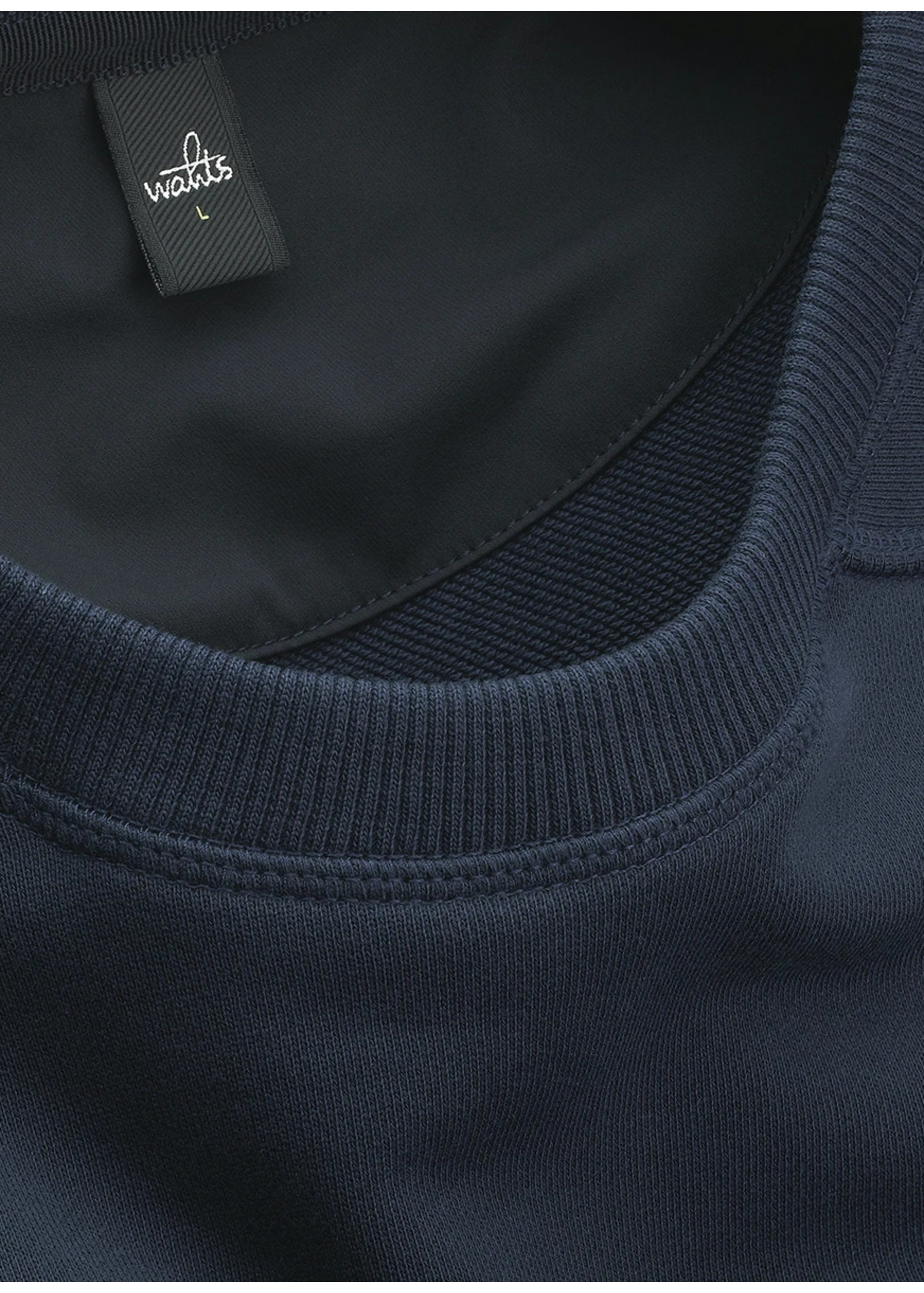 Wahts Moore crewneck sweater navy blue
