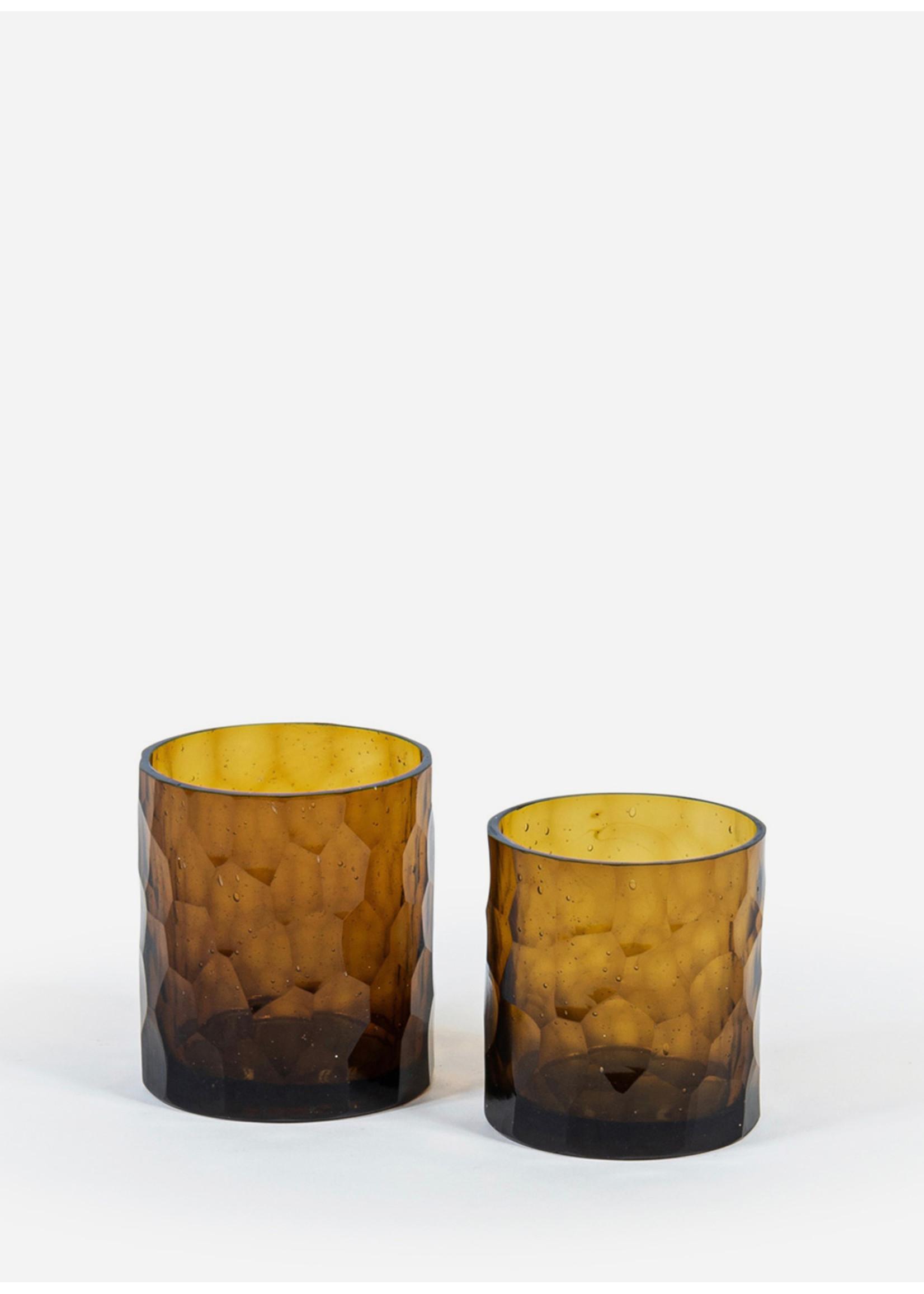 Deko Candles T-light holder amber shiny honeycomb cut M