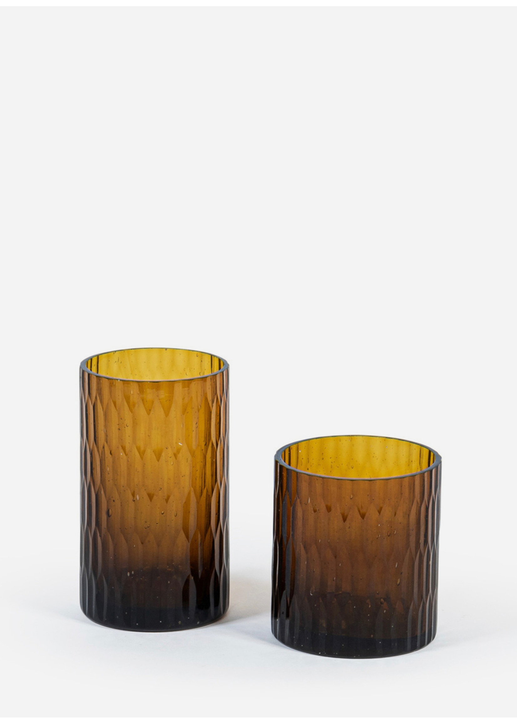 Deko Candles T-light holder amber shiny rice cut S